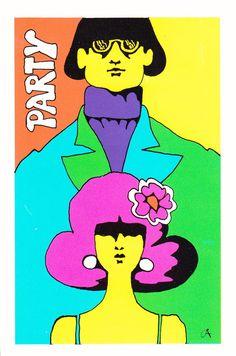 1960s party invitation illustration by John Alcorn.