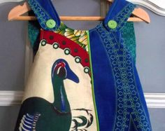 Baby Cross-Back Pinafore Duck and Indigo