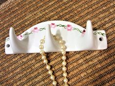 Wall Hook Jewelry Hanger  Door Pink Rose Design Hand Painted Porcelain Kiln Fired by blm by PorcelainChinaArt on Etsy