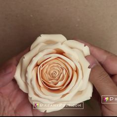 Paper rose tutorial Paper rose tutorial step by step is part of Paper roses - This is a new tutorial of how to make paper rose from cardstock, with full video and detail written instructions Paper Flowers Craft, Crepe Paper Flowers, Flower Crafts, Diy Flowers, Fabric Flowers, Paper Crafts, Diy Paper Roses, Flower Paper, Paper Flowers Wedding