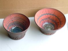 Hand Made Hand Thrown Wheel Thrown Hand Carved Ceramic Pottery Raw Clay Decorative Bowl Set Brown and Red Mixed Marbled Agateware Bowl Set