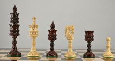 Lotus Carved Bud Rosewood Chess Set ~ This is such a pretty chess set!