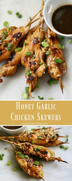 Honey Garlic Chicken Skewers - Sober Julie - 25 Meat Appetizers for Your Holiday Party Decor Dolphin - Chicken Appetizers, Appetizers For Party, Chicken Recipes, Skewer Appetizers, Appetizers With Meat, Freezable Appetizers, Avacado Appetizers, Prociutto Appetizers, Mexican Appetizers