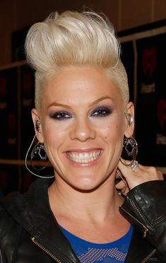 """A hot new trend is the pompadour, also known as the quiff or """"the Faux Hawk"""". Check out these amazing pompadour hairstyles.: The Singer Pink Quiff Hairstyles, Pompadour Hairstyle, Cute Hairstyles For Short Hair, Short Hair Styles, Singer Pink Hairstyles, Undercut Pompadour, Pink Haircut, Celebrity Hair Stylist, Pop Punk"""