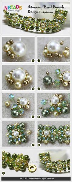stunning bead bracelet design free tutorial, DIY. Looks pretty easy too.