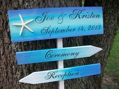 BEACH WEDDING Signs 4pc Set, 3 signs, 4ft stake & STARFISH Ocean Inspired Beautiful Blues and Aquas for your Beach Wedding on Etsy, $80.00