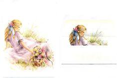 arco-Iris Loreta - papel de carta com vc - Julia - Conjunto de papel de carta antigo Julia