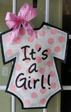 It's a girl! Baby announcement door hanger, hand painted burlap, Hospital or Baby shower hanger, pink polka dots, gray accents, baby gift