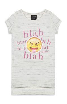17f4c42d96330 Primark Girls SMILEY EMOJI T Shirt Tee Top BRUSH SEQUINS