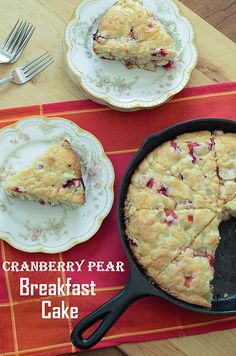 Cranberry Pear Breakfast Cake - From Valerie's Kitchen