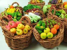 Miniature Polymer Clay Fruits and Veggies in weaving basket, 1 piece, assorted by Mycraftgarden on Etsy https://www.etsy.com/listing/221131077/miniature-polymer-clay-fruits-and