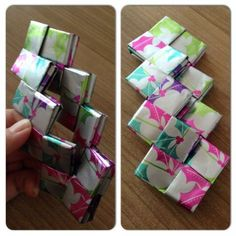 Candywrapper.dk Candy Wrappers, Candy Bags, Handmade Bags, Purses And Bags, Origami, Diy And Crafts, Gift Wrapping, Mosaics, Couture