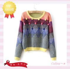 VIP.SALE!!関税,送料込★ROMWE★Twisted Ball Sweater★ ポップでカラフルなカラーにボールがアクセントで付いています♪女の子らしい愛らしいとってもキュートなデザインのセーターです★