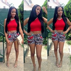 Red Crop Top Gold Cage Sandals African Print Shorts Dope Outfit Pretty Girl Swag Fashionista Streetwear Urban Fashion Style Trend OOTD Black Beauty African American Beautifiedtina