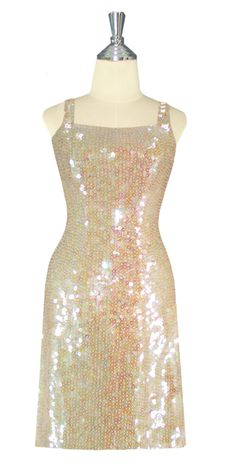 25df1e48 Short Handmade 10mm Flat Sequin Dress in Champagne Color front view Choir  Dresses, Dance Dresses. SequinQueen.com