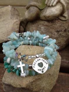 Follow Your Heart three wrap beaded memory wire by DFInspirations, $30.00