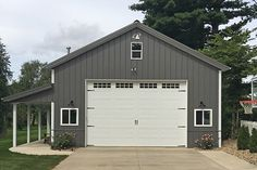Visit the Lester Buildings Project Library for pole barn pictures, ideas, designs, floor plans and layouts. Metal Pole Barns, Pole Barn Garage, Building A Pole Barn, Metal Shop Building, Building A House, Metal Barn, Man Cave Pole Barn, Pole Barn Shop, Building Exterior