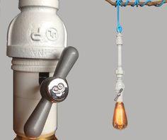 Steampunk Rustic White Metal Repurposed Industrial Pipe Pendant Light