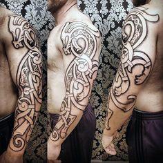 Guys Stylish Nordic Dragon Art Tattoos Full Sleeves Viking Dragon Tattoo, Viking Tattoo Sleeve, Dragon Tattoo Arm, Norse Tattoo, Arm Tattoo, Body Art Tattoos, Sleeve Tattoos, Dragon Sleeve, Thai Tattoo