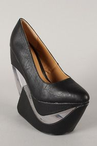 Fahrenheit Yvonne-01 Pointy Toe Lucite Heel Less Curved Wedge