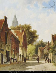 Townspeople in a sunlit street - Adrianus Eversen Medieval Life, Dutch Painters, Delft, Old Town, Holland, Amsterdam, 19th Century, Architecture, Street