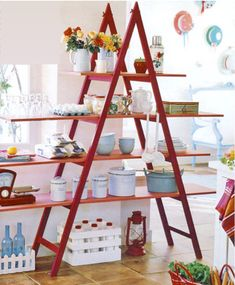 DIY: 24 Easy ways to reuse an old ladder at home | World inside pictures (site blocked..check it out later)