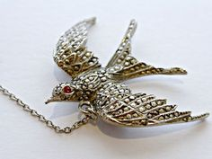 Lovely Vintage Art Deco Sterling Silver Marcasite  Encrusted Swallow In Flight Bird Brooch Safety Chain by OneMinuteInTime on Etsy