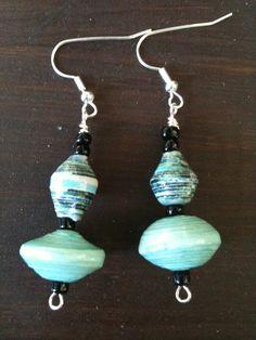 Handmade Paper Bead Earrings by DenimDawgJewelry on Etsy, $5.99