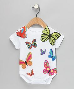 Take a look at this White Butterfly Sublimated Bodysuit - Infant by American Classics on #zulily today!