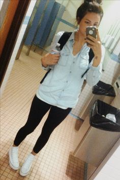 Denim shirt, leggings, white high top converse