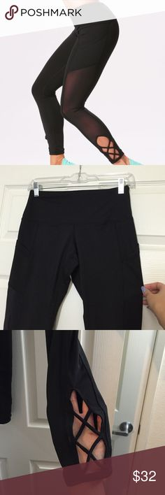 "BNWOT POPFLEX ACTIVE POINTE LEGGINGS BLACK SIZE 4 Never used but w/out tags. This is my normal size in this brand but the criss cross part at the lower calves does not fit me like the model (too tight on me) Also they come up a little higher on my legs (these are the pants though, not the capri because they do have pockets) - they used a 5'2"" model for some reason - I'm 5'5"" so that's why. Just got a new/different pair of hers to replace these so letting these go. See her site for more…"