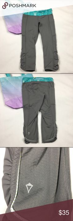 Ivivva Running Tights Gray/Teal sz 8 Perfect for your little athlete! Lightly worn. No trades lululemon athletica Bottoms Leggings