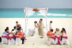Beach Ceremony At The Iberostar Cancun Love Pinks And Oranges Against Turquoise Of