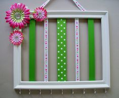 11x14 picture frame hair accessories organizer, headband and hair bow holder, girls room decor, white, hot pink, and green on Etsy, $32.00