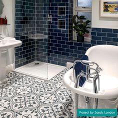 These Ledbury Marina Blue Pattern Tiles have an encaustic effect design in a satin finish and are ideal for creating a vintage styled floor in an interior space. Metro Tiles Bathroom, White Bathroom Tiles, Bathroom Floor Tiles, Wall Tiles For Kitchen, Colourful Bathroom Tiles, Bathroom Feature Wall Tile, Wall And Floor Tiles, Blue Subway Tile, Blue Tiles