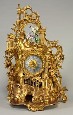 Clock, c. 1750, movement maker Baumgartinger (German), carved and gilded wood, faience, Overall - h:97.80 w:59.70 d:37.20 cm (h:38 1/2 w:23 1/2 d:14 5/8 inches)