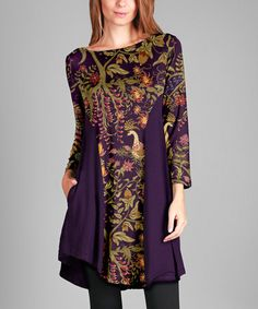 Love this Purple & Gold Solid-Panel Boatneck Tunic - Plus on #zulily! #zulilyfinds