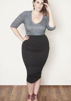 3ebda66ae7a18 Rebdolls Plus Measurement black bodycon midi skirt....    See even more