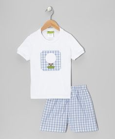 Take a look at this White Golf Tee & Blue Plaid Shorts - Infant, Toddler & Boys by Stellybelly on #zulily today!