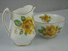 Vintage Cream and Sugar Set by Melba Bone China Yellow Roses on White… Sugar Bowls, Cream And Sugar, Yellow Roses, White Porcelain, Bone China, Bones, Unique Jewelry, Handmade Gifts, Floral