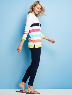 Talbots - Cabana-Stripe Hoodie | Tees and Knits |