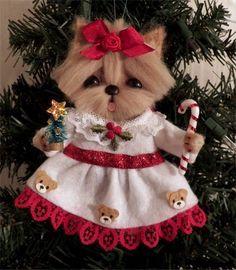 OOAK Yorkie Dog Christmas Hanging ornament *CTD*