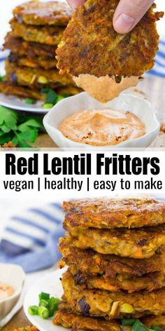 These potato fritters with red lentils are super easy to make and so delicious! Pizzeria Sirenetta vegan recipes These potato fritters with red lentils are super easy to make and so delicious! They're best with spicy sriracha m Vegan Dinner Recipes, Whole Food Recipes, Cooking Recipes, Vegan Lentil Recipes, Spicy Vegetarian Recipes, Vegan Recipes With Potatoes, Vegan Recipes Kid Friendly, Plant Based Dinner Recipes, Plant Based Meals