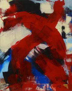 """""""Gemenge mit Rot 2"""", von AJAR 2018, Acryl auf Leinwand, Höhe: 50 cm, Breite: 40 cm, Preis: CHF: 290.00"""