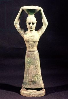 Statuette of an offering bearer with a votive inscription, from Uruk, Protoliterate Period, 3rd millennium BC (bronze)