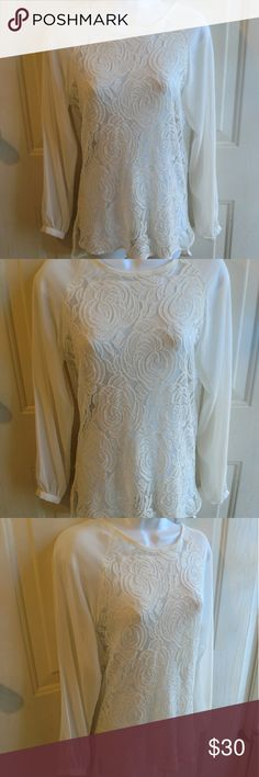 """Zara Basic white lace long sleeve keyhole blouse Zara Basic white long sleeve blouse, lace detail, sheer, keyhole on back, size small. Gently used with no flaws. No content tag.  Measurements Chest: 16"""" Length: Front-26""""; back-29""""  B1-003 Zara Tops Blouses"""