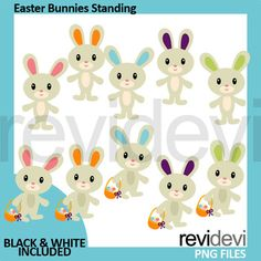 Easter Bunny Clipart. This pack features Easter bunnies standing with Easter basket. Cute rabbit clipart for the Easter Holiday! Great resource for any school and classroom projects such as for creating bulletin board, printable, worksheet, classroom decor, craft materials, activities and games, and for