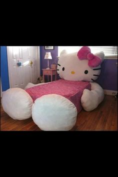 This hello kitty bed is the cutest bed ever! This bed cover zips around a mattress like a pillowcase, you'll have this hello kitty bed setup in no time Cama Da Hello Kitty, Hello Kitty Bedroom, Cat Bedroom, Girls Bedroom, Bedroom Decor, Theme Bedrooms, Hello Kitty Room Decor, Bedroom Furniture, Bedroom Ideas