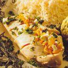 Gevulde kipfilet met gehakt roomkaas en mangochutney