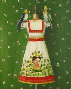 Frida Kahlo dress, a painting by Janet Hill. Diego Rivera, Janet Hill, Kawaii Illustration, Beautiful Paintings, Girly Girl, Dress Up, Summer Dresses, My Style, How To Wear